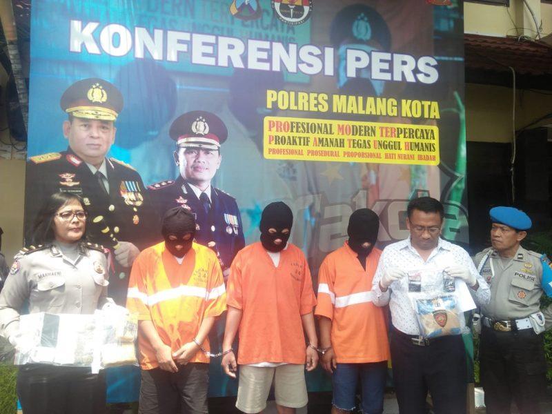 Edarkan Ganja Dan Shabu, 3 Pemuda Dibekuk Satreskoba Polres Malang Kota