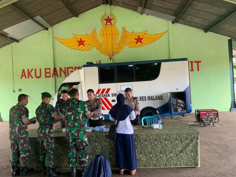 Polres Malang Gelar Sinergitas Bersama TNI Dalam Pelayanan SIMDi Kampung Tentara