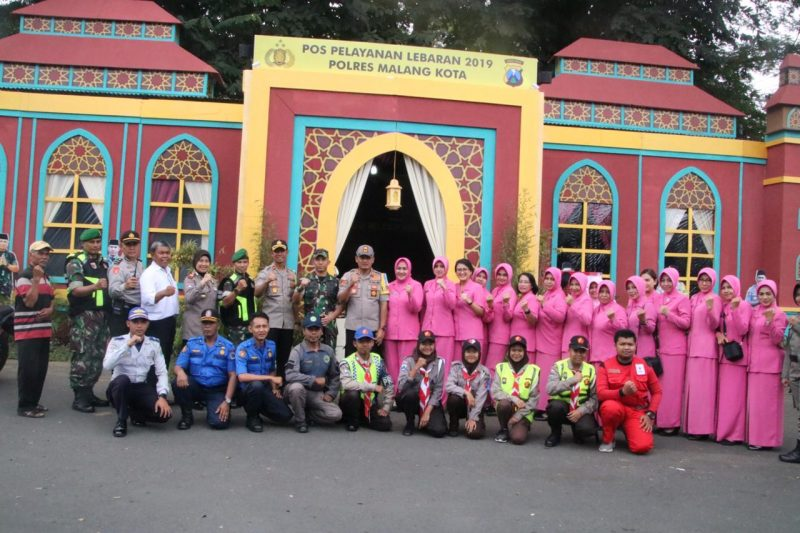 Dandim 0833 bersama Kapolres Malang Kota dan Ketua Bhayangkari Tinjau Pos Pam Lebaran