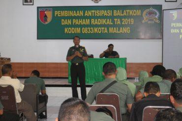 Kodim 0833/Kota Malang Gelar Pembinaan Antisipasi Balatkom dan Waspadai Paham Radikal