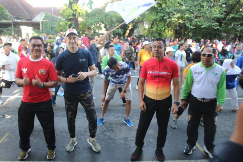Kasdim 0833/Kota bersama Danrem 083/Bdj Malang Ramaikan Senam Sehat Berkualitas Bersama Yukata