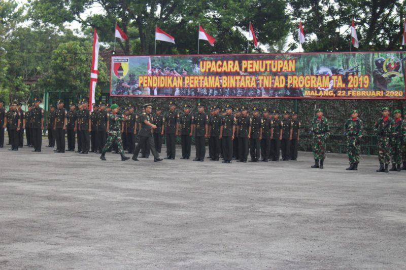 Dandim 0833/Kota Malang Hadiri Upacara Penutupan dan Pelantikan Dikmaba TNI AD Prog. TA 2019