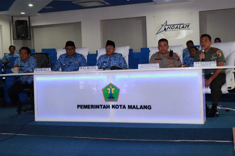 Dandim 0833 Ikuti Teleconference Rakor Penanganan Covid-19 Malang Raya