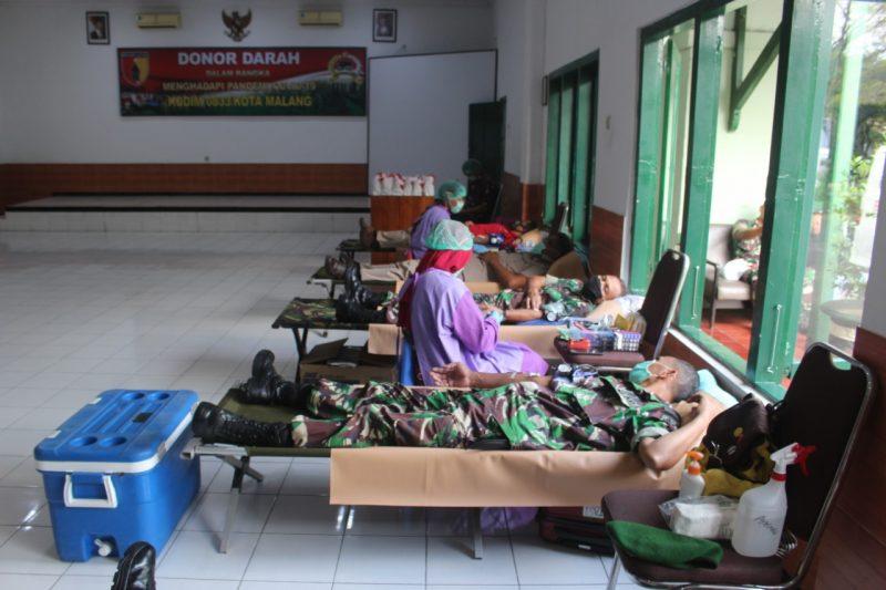 Dampak Virus Corona, Stok Darah PMI Kota Malang Menipis, Kodim 0833 Kota Malang Gelar Donor Darah