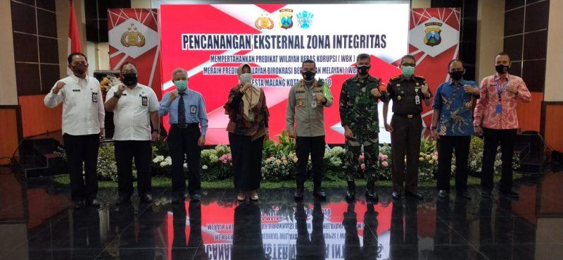 Dandim 0833 Kota Malang Hadiri  Pencanangan Eksternal Zona Integritas Polresta Malang Kota Tahun 2020
